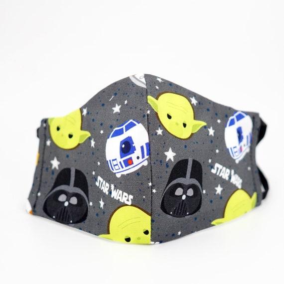 Star Wars R2-D2 Darth Vadar Yoda Kid Mask | 3 ply plus Filter Pocket |Adjustable Ear straps | Children Dust Face Masks | Boy Cartoon Masks