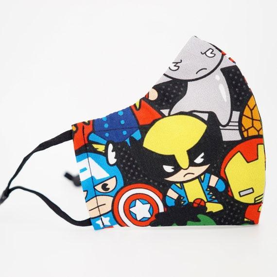 Marvel Avengers Superheros Kid & Adult Mask | 3 ply plus Filter Pocket | Iron man Spiderman Hulk Wolverine| Adjustable Ear loops | Comics