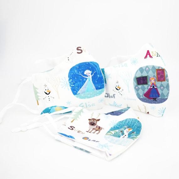Set of 3 Frozen Princess Elsa Anna Olaf Sven Kid Mask | 3 ply plus Filter Pocket | Adjustable Ear straps | Children Dust Face Masks | Girl