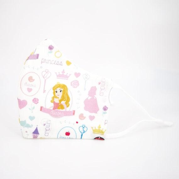 Princess Aurora Sleeping Beauty Mask | 3 ply plus Filter Pocket | Adjustable Ear Loops | Kid Children Dust Face Masks | Cartoon Girl Fairy