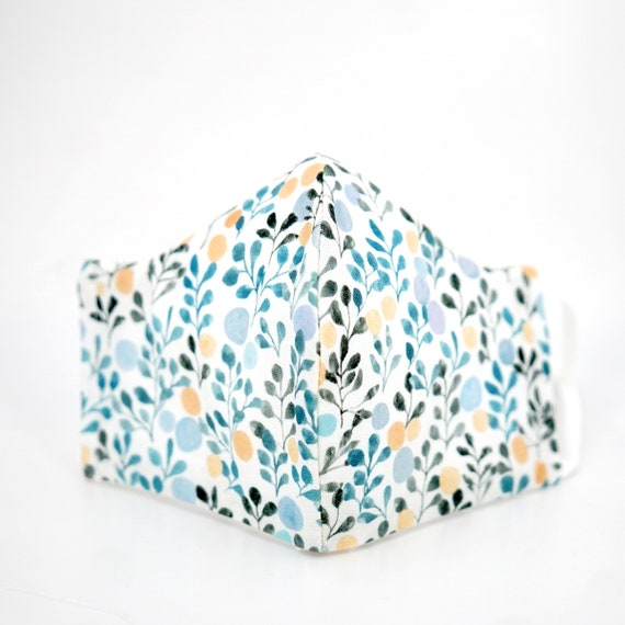 Olive Leaf Mask | 3 ply plus Filter Pocket | Cotton Reusable| Adjustable Ear loops | Women Children Dust Face Masks | Flower pattern Masks