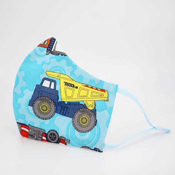 Fire Engine Dump Truck Recycling Kid Mask | 3 ply plus Filter Pocket |Adjustable Ear straps | Children Dust Face Masks | Boy Cartoon Masks