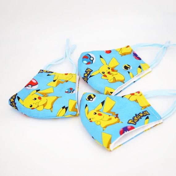 Pokemon Pikachu Kid Mask | 3 ply plus Filter Pocket | Adjustable Ear straps | Children Dust Face Masks | Breathable Washable Cartoon Masks