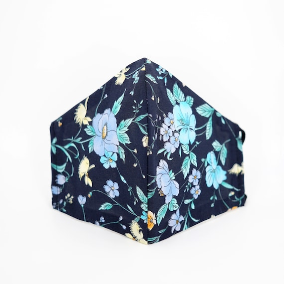 Floral Dark Blue Mask | 3 ply plus Filter Pocket | Cotton Reusable| Adjustable Ear loops | Women Children Dust Face Masks | Flower pattern