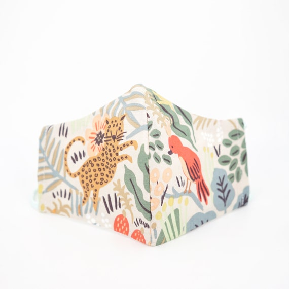 Safari Animal Mask | 3 ply plus Filter Pocket | Nature Zoo Wild | Adjustable Ear loops | Boys Girls Children | Tiger Monkey Cheetah Red Bird