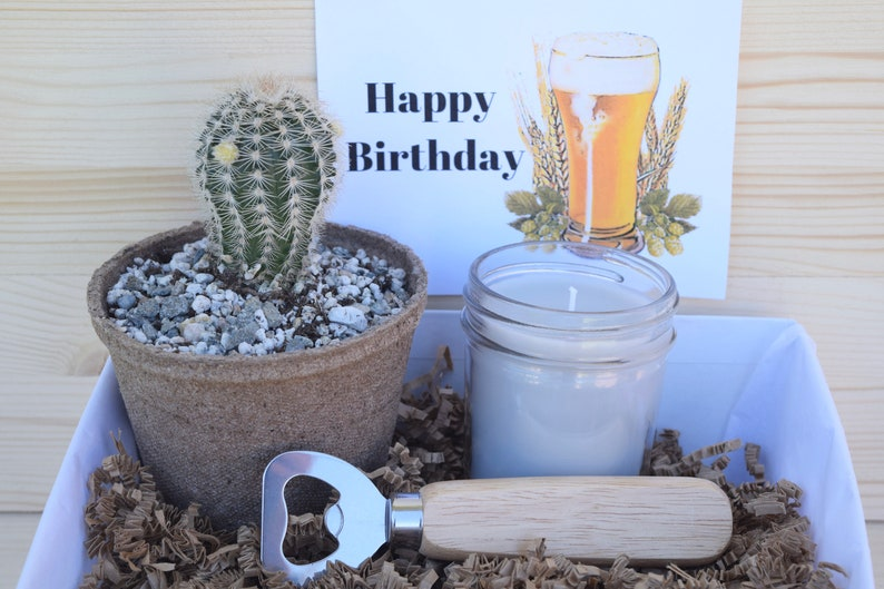 Succulent Gift Box For Him Happy Birthday Beer Lovers