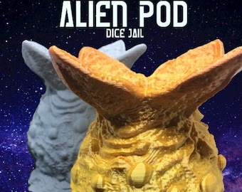 Alien Pod Dice Jail Fates End 2 Terra and Cosmos 3D Print Dice Jail Dungeons and Dragons Dice Jail DnD Dice Jail