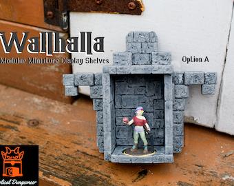 Wallhalla Modular Miniature Display Shelves Dungeons and Dragons Diorama D&D RPG Miniature Display Tabletop