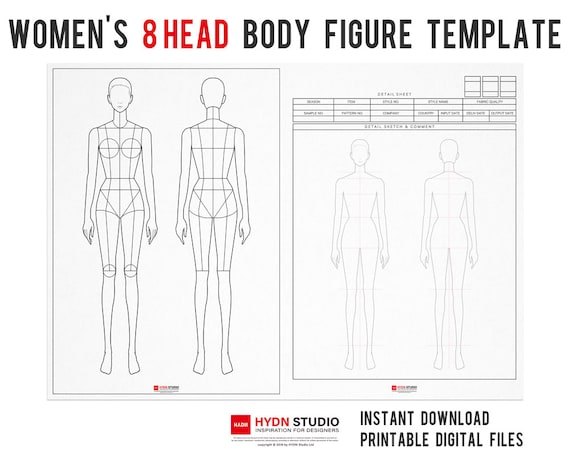 Women S 8head Body Figure Templates For Fashion Etsy