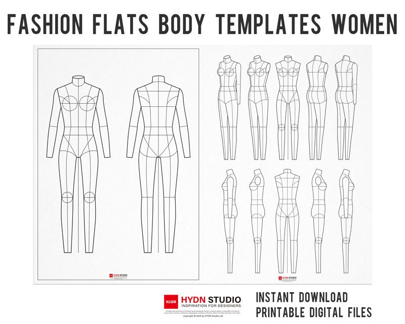 Fashion Flats Body Templates Women For Fashion Illustration Etsy