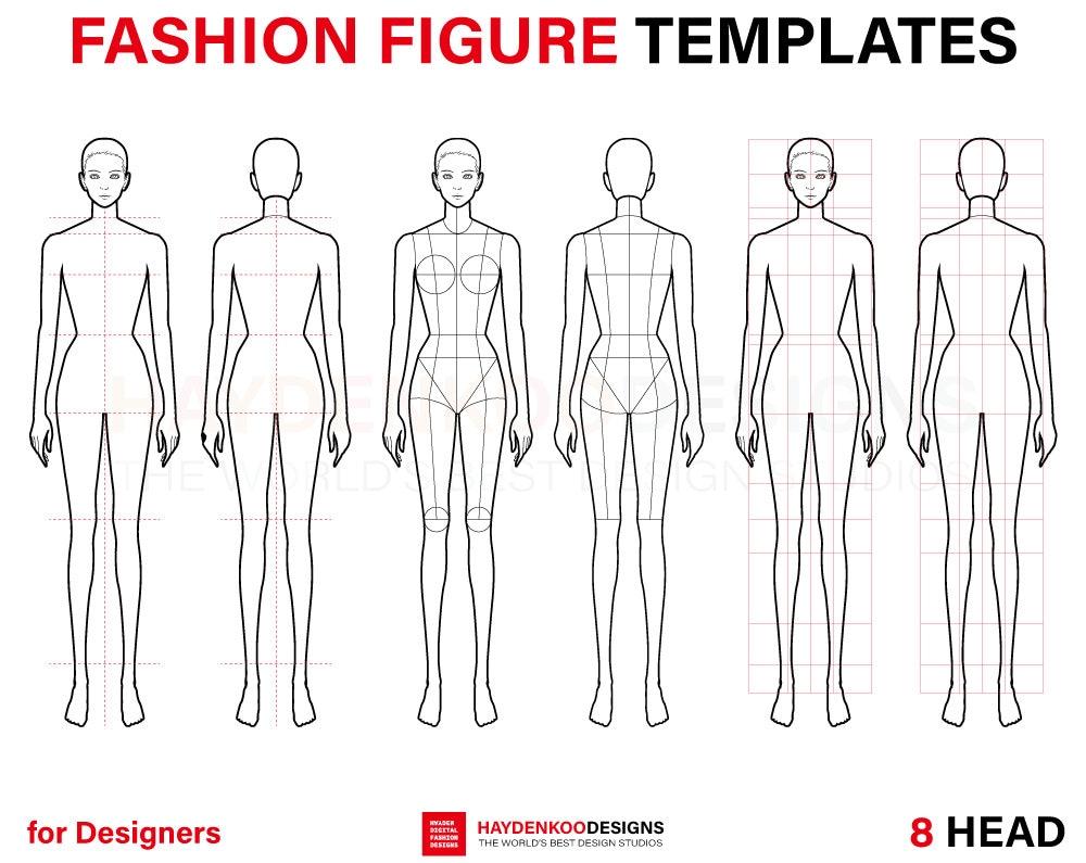 Fashion Template 8 Head For Fashion Illustration Fashion Etsy