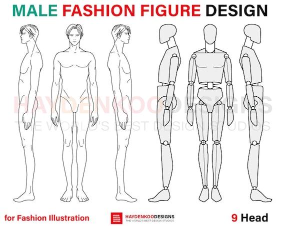 Male Fashion Figure Template (9 Head) for Fashion illustration, Fashion  croquis, Fashion flat sketches