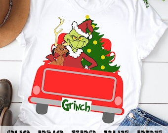 Grinch Christmas Vintage Red Truck, Christmas tree svg, Red truck svg, Merry Christmas SVG | eps, png, pdf, svg, dxf Silhouette