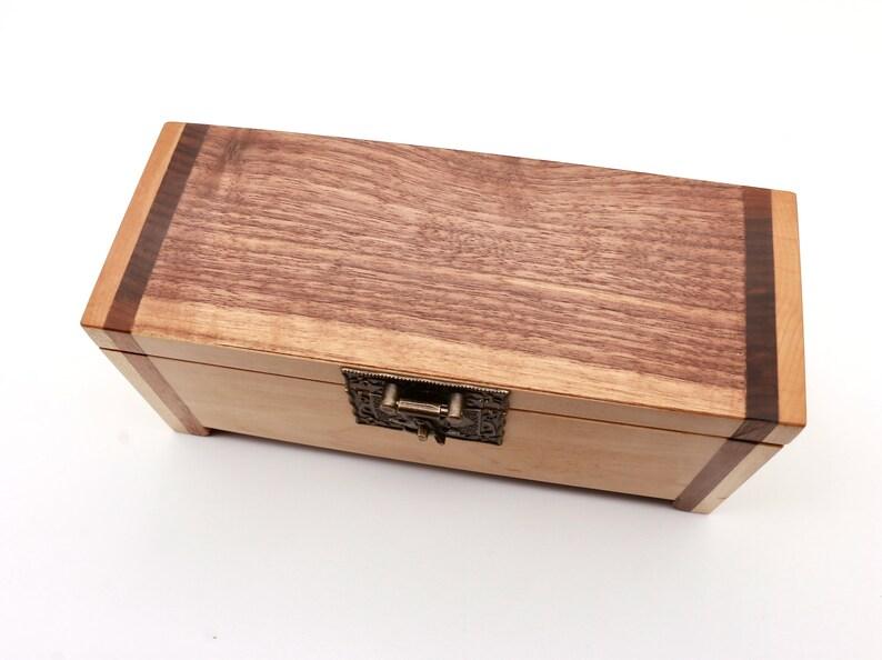 Walnut and Maple Wood Box Wooden Jewellery Box Keepsake Box