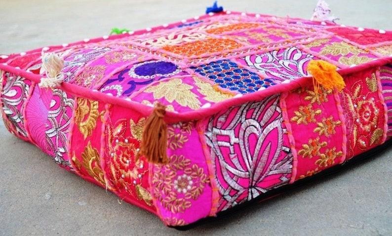 large floor pillow Indian cushion hippie Art meditation cushion Pink Bohemian floor cushions decorative cushion cover patchwork cushion