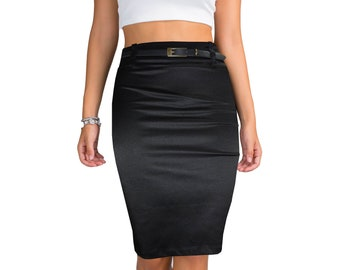 705c6482c0 women's vintage satin skirt stretch midi pencil body con skirt with back  vent black & free belt
