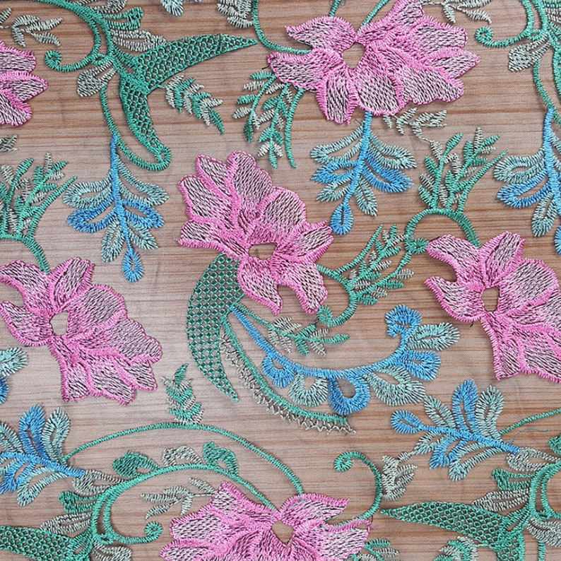 Flowers Embroidered Lace Fabric By The Yard,Bridal Wedding Dress Mesh Fabric,49