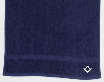 32bc0ae0 Masonic bath towel - Ideal Freemasons Gift or present - Embroidered symbol
