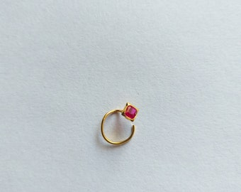 3.5mm tiny 18kt yellow gold handmade single stone nose pin U band nose stud cartilage customized pretty red stone jewelry gnp31