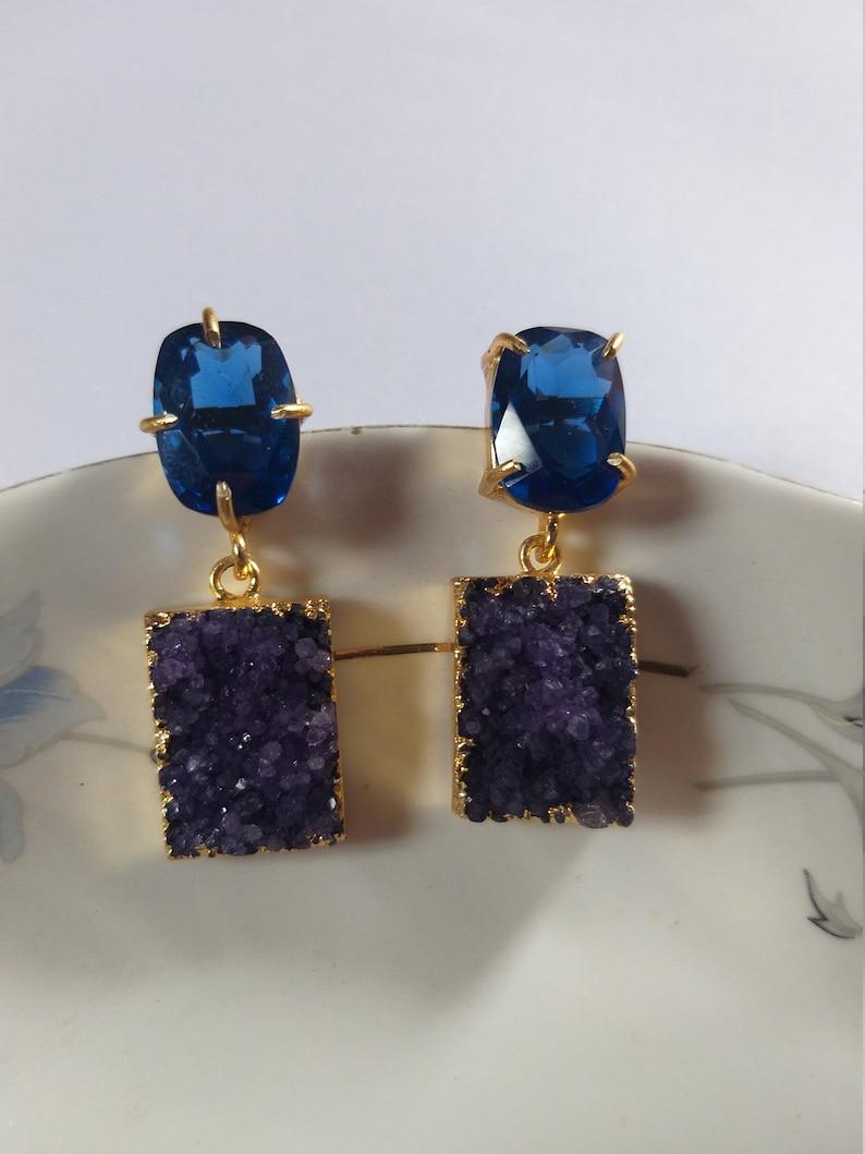 Druzy Gemstone EarringsAgate Gold Edge EarringHydro Blue Quartz Stud Earring Indian Traditional Earring Unique Earring Fashion Jewelery