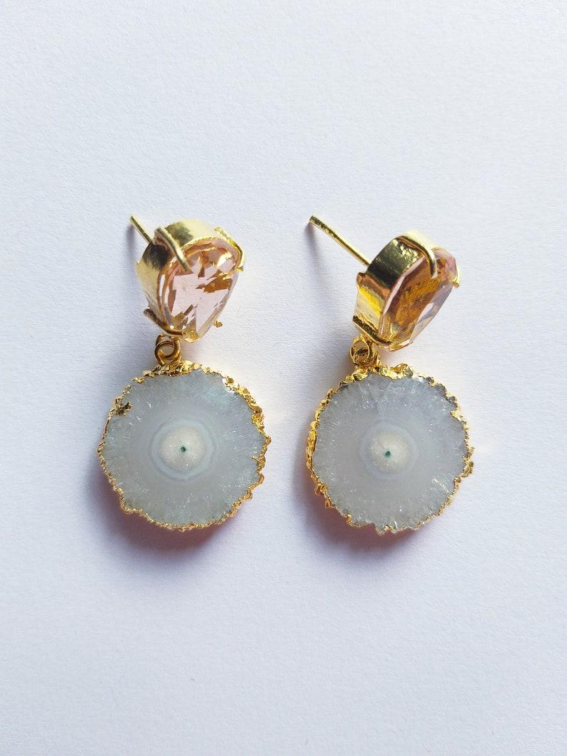 Druzy Slice EarringsHydro Pink Quartz Stud Earrings Gemstone EarringsGold Edge DangleFashion JewelleryChandelier EarringJewellery Sale