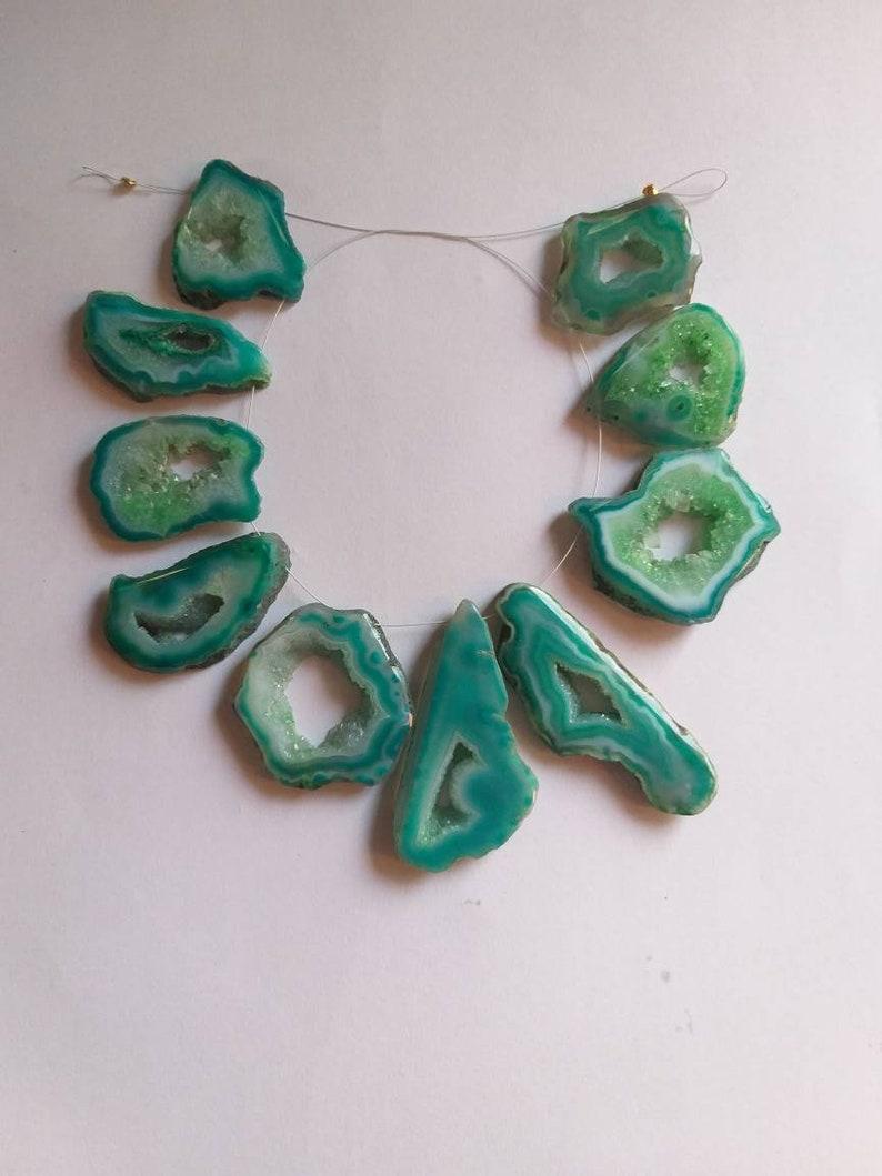 Druzy Agate Slice Beads Druzy Geode Beads Gemstone BeadsDruzy Quartz  Jewellery Making Beads  Gemstone Supplies 10 pieces Strand