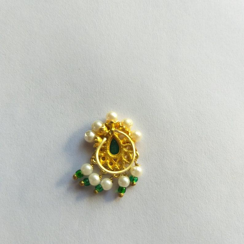 Green Stone Gold Plated Big Nose Stud Pin Indian Piercing Nose Stud Nostril Stud Nose Ring Fashion Jewellery Wedding Designer Cork Back Stud
