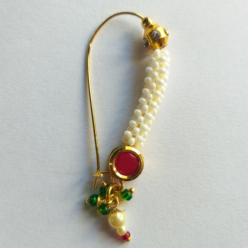 Designer Maharashtrian Pearls Nose Ring Wedding Nose Stud Piercing Nose Pin Nostril Indian Nath Fashion Nose Jewellery Gold Plated Big