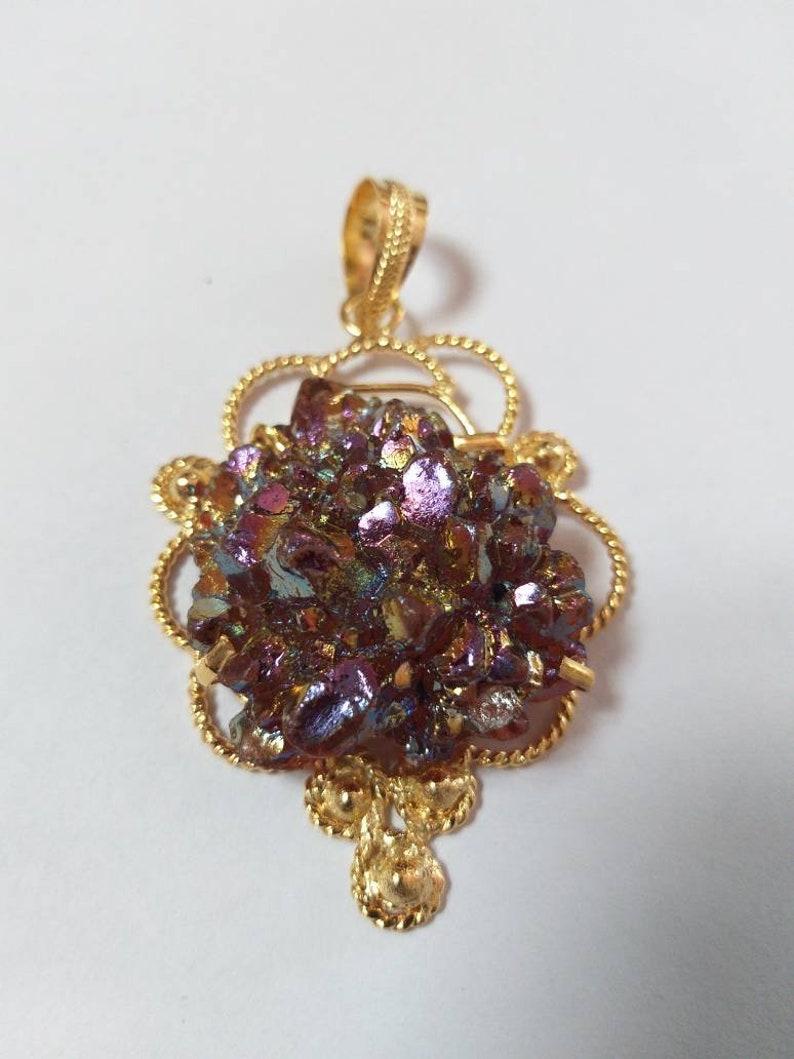 Druzy Titanium Coated Pendant Druzy Geode Pendant  Druzy Gemstone Pendant  Druzy Gold Electroplate PendantFashion Jewellery
