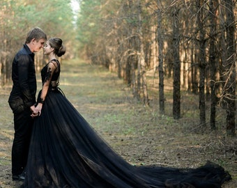 42ef438d64 Alternative Sexy Black Wedding Dress, Gothic Two Piece Ballgown Tulle Wedding  Dress/ Fairy Bohemian Bridal Gown