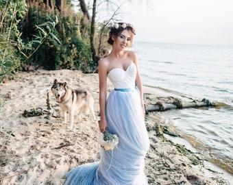 1a936f4abe47 Boho Wedding Dress - Color Wedding Dress - A Line Wedding Gown - Sky Blue  Wedding Dress - Corset Wedding Dress - Non Traditional
