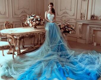 Blue Wedding Gowns | Blue Wedding Gown Etsy