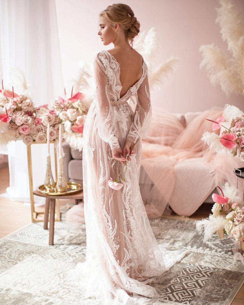 Simple Modest Wedding Dress Bohemian Rustic Wedding Dress Alternative Long Sleeves Lace Dress Low Back Boho Bridal Gown