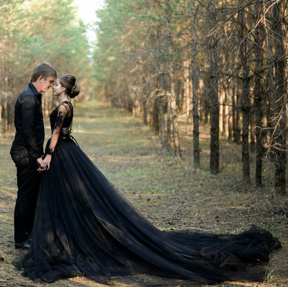 Alternative Sexy Black Wedding Dress, Gothic Two Piece Ballgown Tulle  Wedding Dress/ Fairy Bohemian Bridal Gown