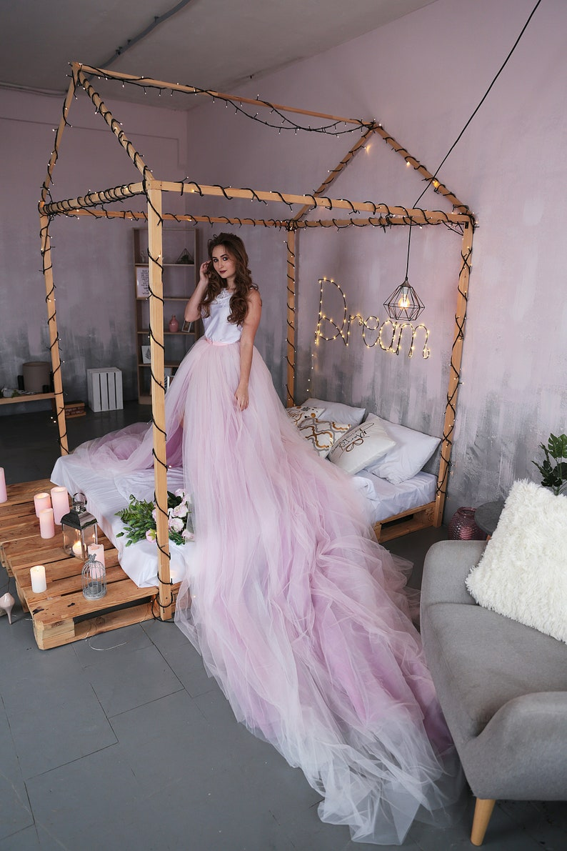 6b71266b67731 Detachable Tulle Bridal Skirt / Overskirt With Long Train/ Light Pink -  Lilac Ombre Wedding Dress/ Plus Size