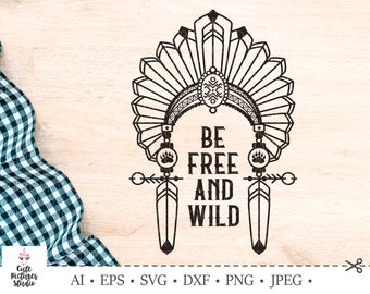 Lettering Wild and Free  Arrow with feathers  Boho   Etsy