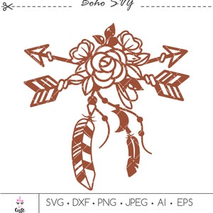 Floral arrows svg png clipart Boho style SVG cut file Peony flower svg 8-3 Set of Boho arrows SVG cricut cut file Feathers svg cut file