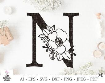 Botanical alphabet svg. Floral letter N svg. Cut file, SVG, DXF, PNG. Wedding monogram svg, papercut, Silhouette svg, Cricut svg, vinyl cut.