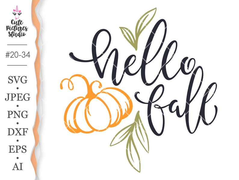 Hello Fall Phrase SVG Cricut cut file Hello Fall png clipart image 0