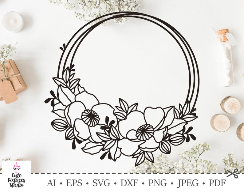Circle frame with anemones flowers for wedding monogram. Cut image 0