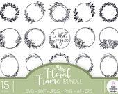 Bundle of floral frames Cricut SVG cut file, Monogram frame Cricut svg, Floral wreath svg png, Flower frame svg, Farmhouse custom sign svg,
