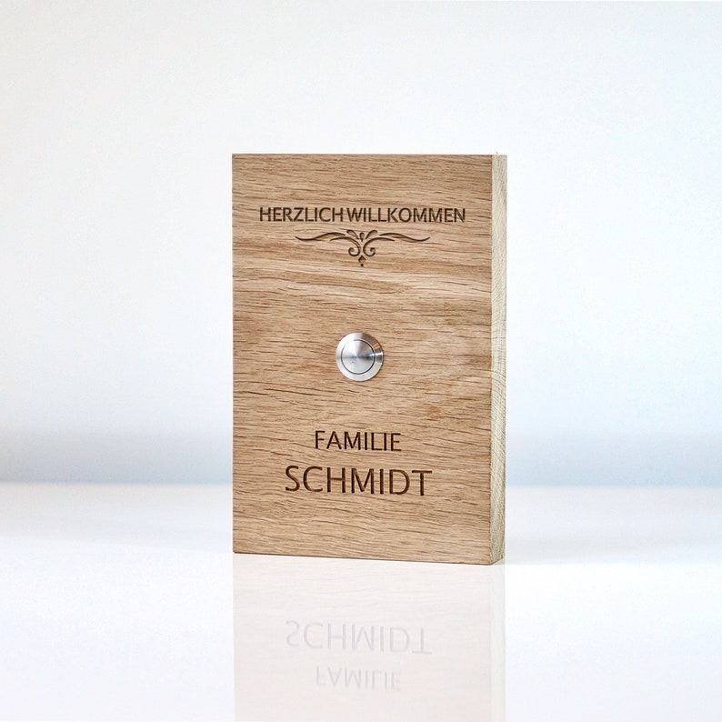 Doorbell Wood Oak Solid with Name Milled/Engraving Door image 0