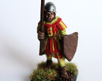 Norman medieval Guard figure with spear and shield for board games