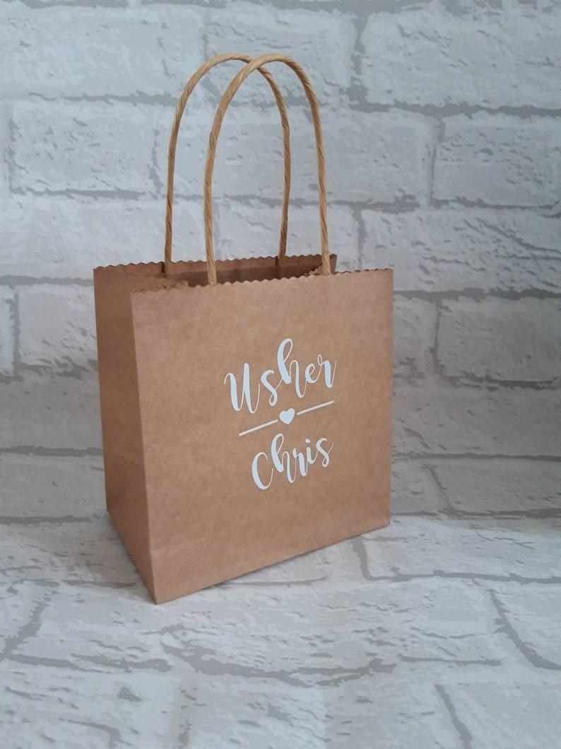 Set of 10 Personalised Mini Kraft Gift Bag  Wedding Gift  Wedding Favour  Hen Party Bag  Bridesmaid  Maid of Honour  Birthday  Gift