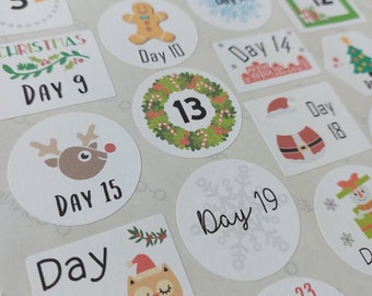 Christmas Advent Stickers / Labels x 24 / Christmas Countdown / Festive Stickers / Advent Calendar / December Stickers