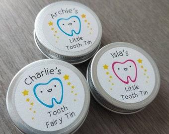 Personalised Tooth Fairy Mini Tin / Baby Teeth / Keepsake / Stocking Filler