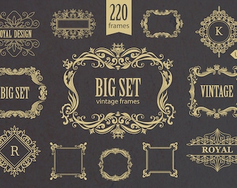 23bb69e3a205 Vintage Frames and Monogram Borders Collection Floral Wedding Ornate  Classic Ornament Logo Vector Retro Set Print Digital Clipart PNG EPS AI