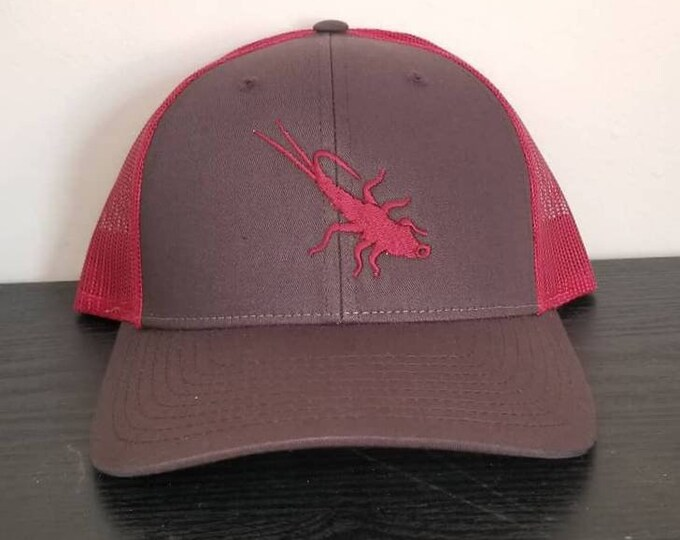 Trout Sniffer Adjustable Logo Cap. (Coffee/Dark Red)