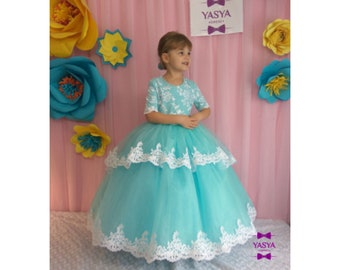 93272241ee Tiffany Flower girl Dress Wedding Party Dress for girl Luxury Childrens  dress for birthday Dress for girl