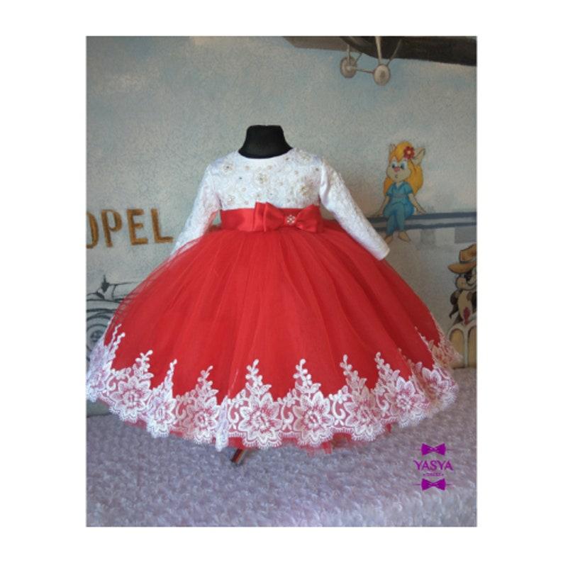b433ea41cb0d3 Red flower girl dress wedding party dress for girl, first birthday dress,  luxury childrens dress for birthday, red lace dress for girls